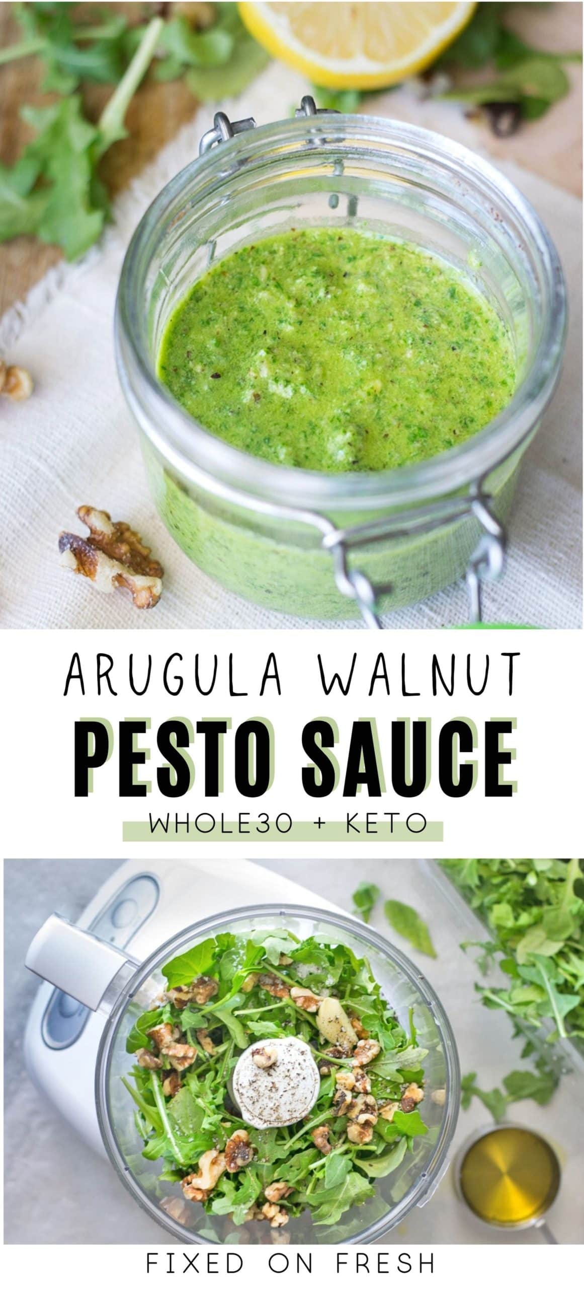 How to make arugula walnut pesto sauce in only 10 minutes. Arugula, toasted walnuts, lemon juice and olive oil all processed to make a delicious whole30 sauce for eggs, cauliflower, fish and chicken.
