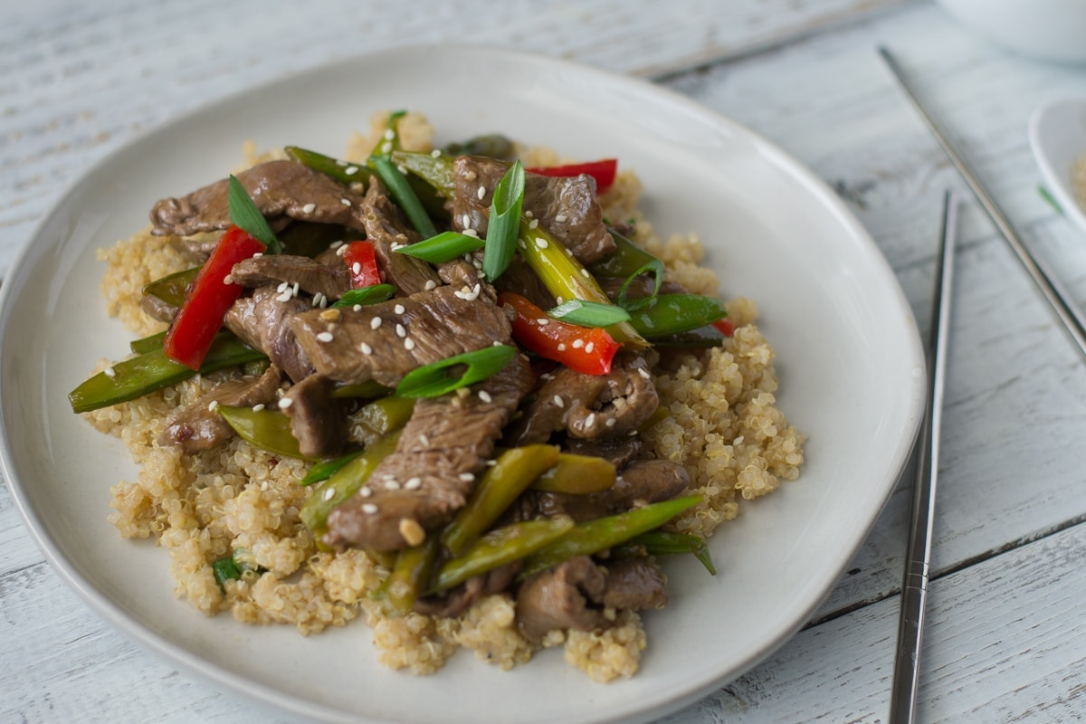 Fixed on Fresh - Beef, Snap Pea, and Asparagus Stir-Fry {Healthy, low carb, Paleo, Keto, Whole 30 recipe}