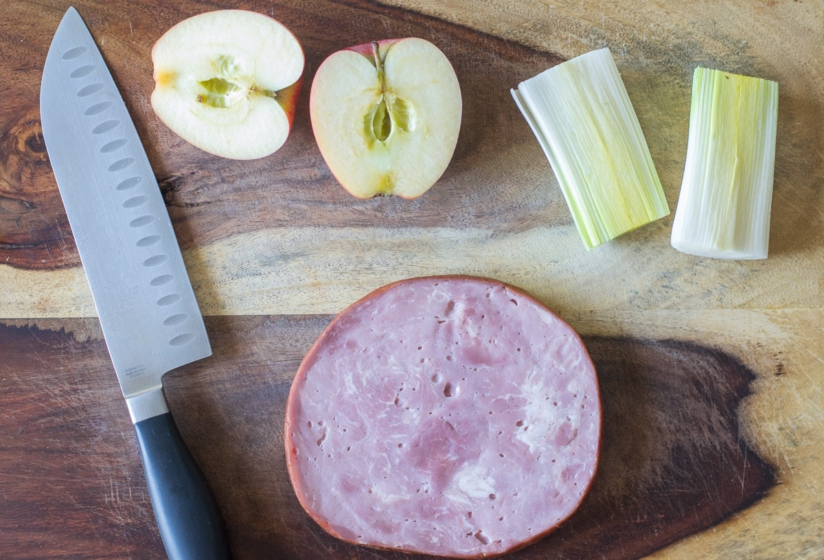 Fixed on Fresh - Ham, Apple and Leek Frittata - Chop Ingredients