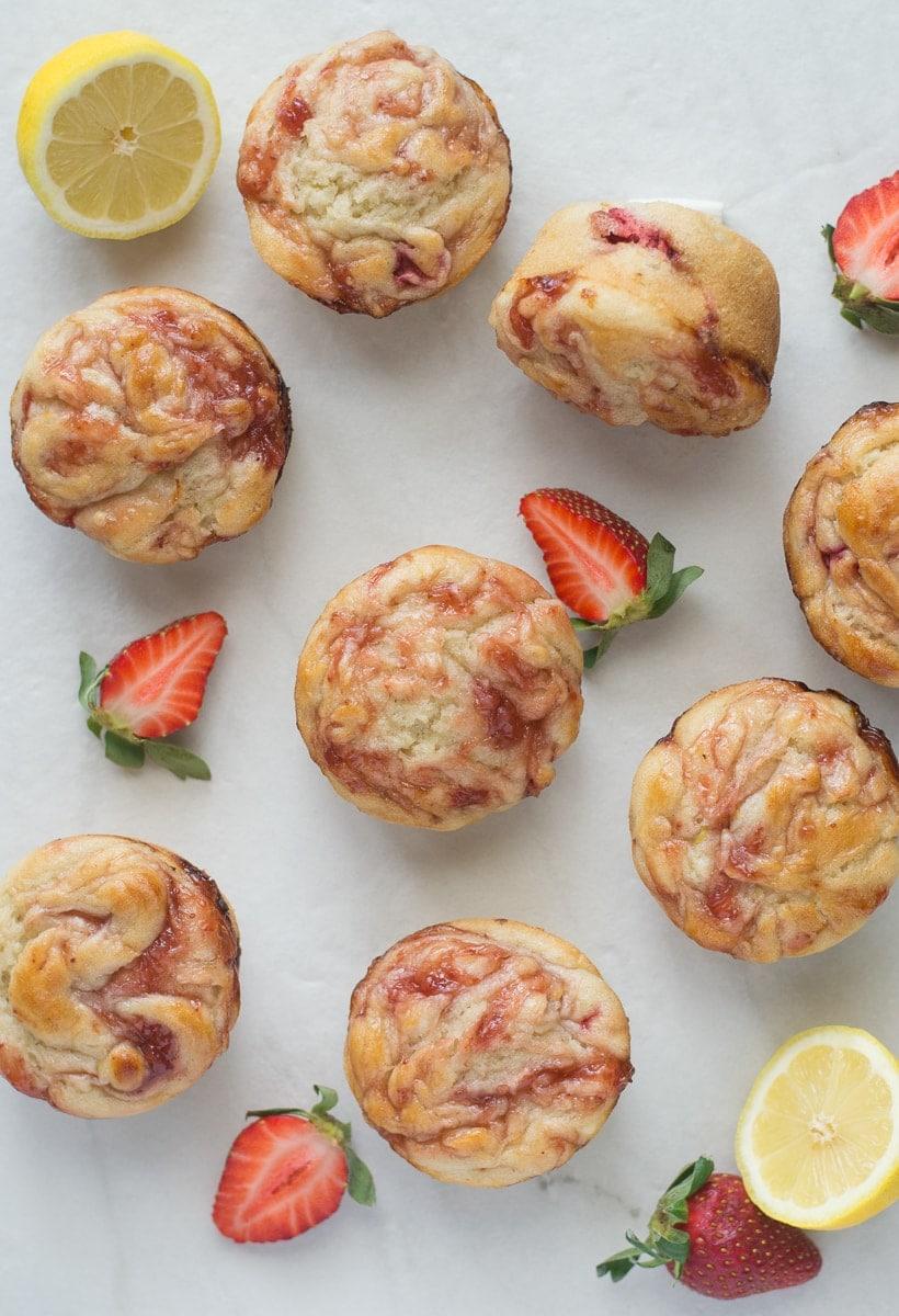Gluten Free Lemon Muffins with Strawberry Swirl