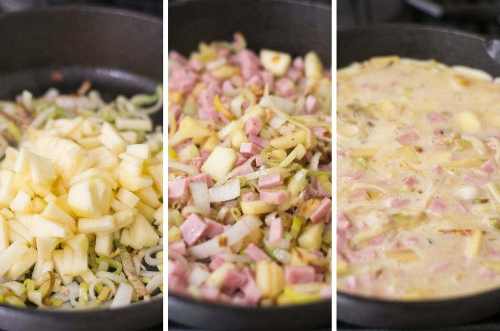 Fixed on Fresh - Ham, Apple and Leek Frittata - Sauté Ingredients
