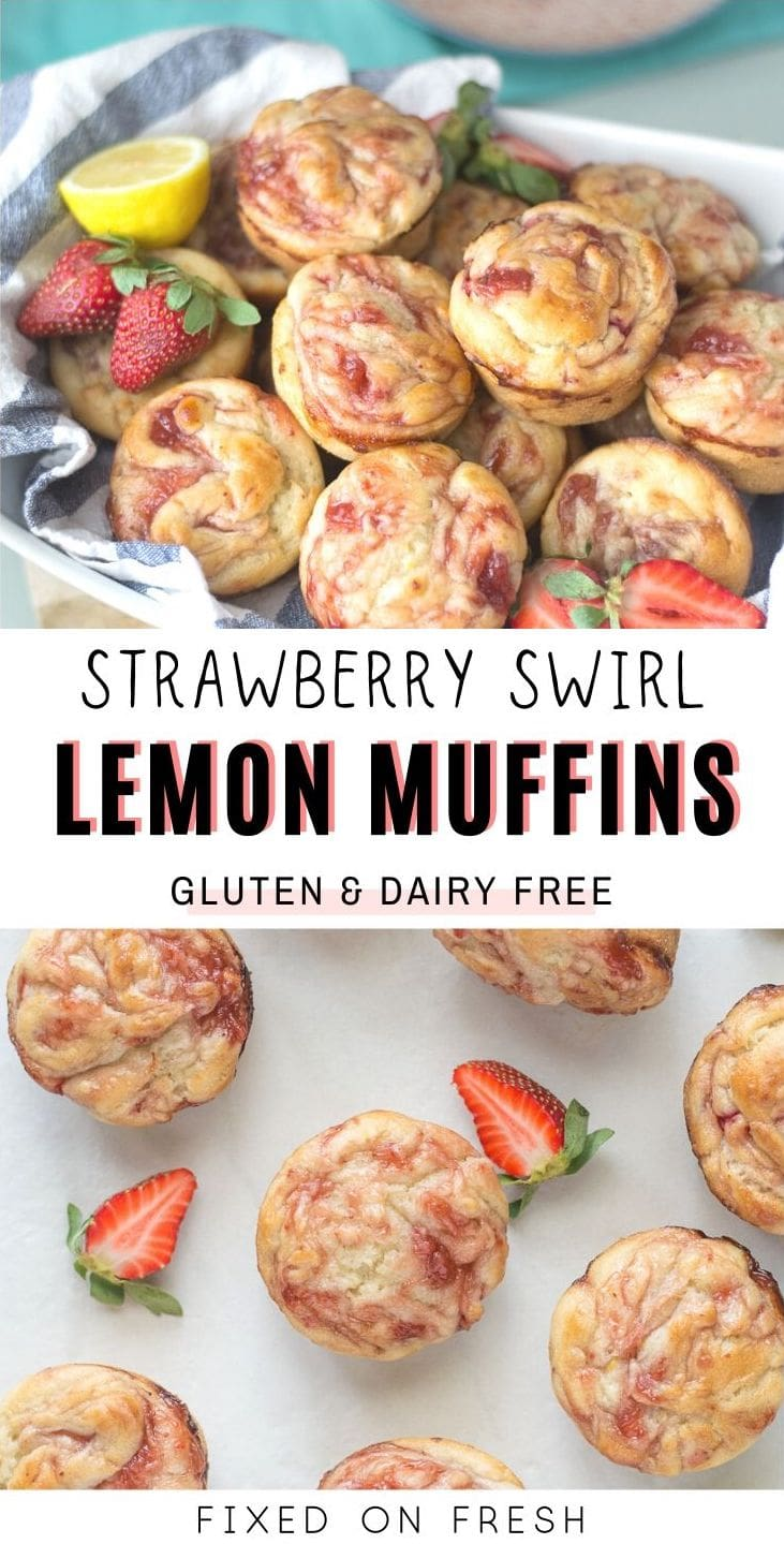 Dairy and Gluten Free Lemon Muffins swirled with fresh strawberries and strawberry preserves on top to make a beautiful and delicious muffin perfect for Easter or mother's day brunch.