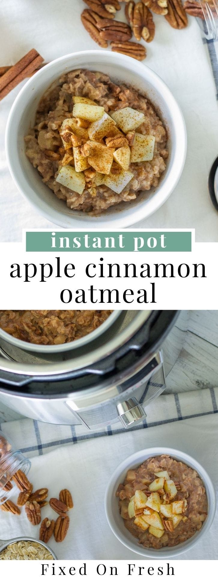 Apple cinnamon instant pot oatmeal is a great, set and forget breakfast that is healthy and delicious.