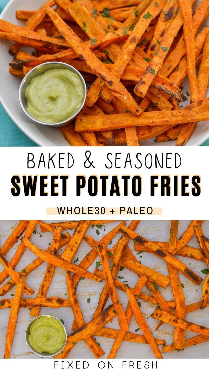 Easy crispy baked sweet potato fries seasoned to perfection are the perfect side dish for family burger night. Whole30 and Paleo instructions mean they're healthier than store-bought too!