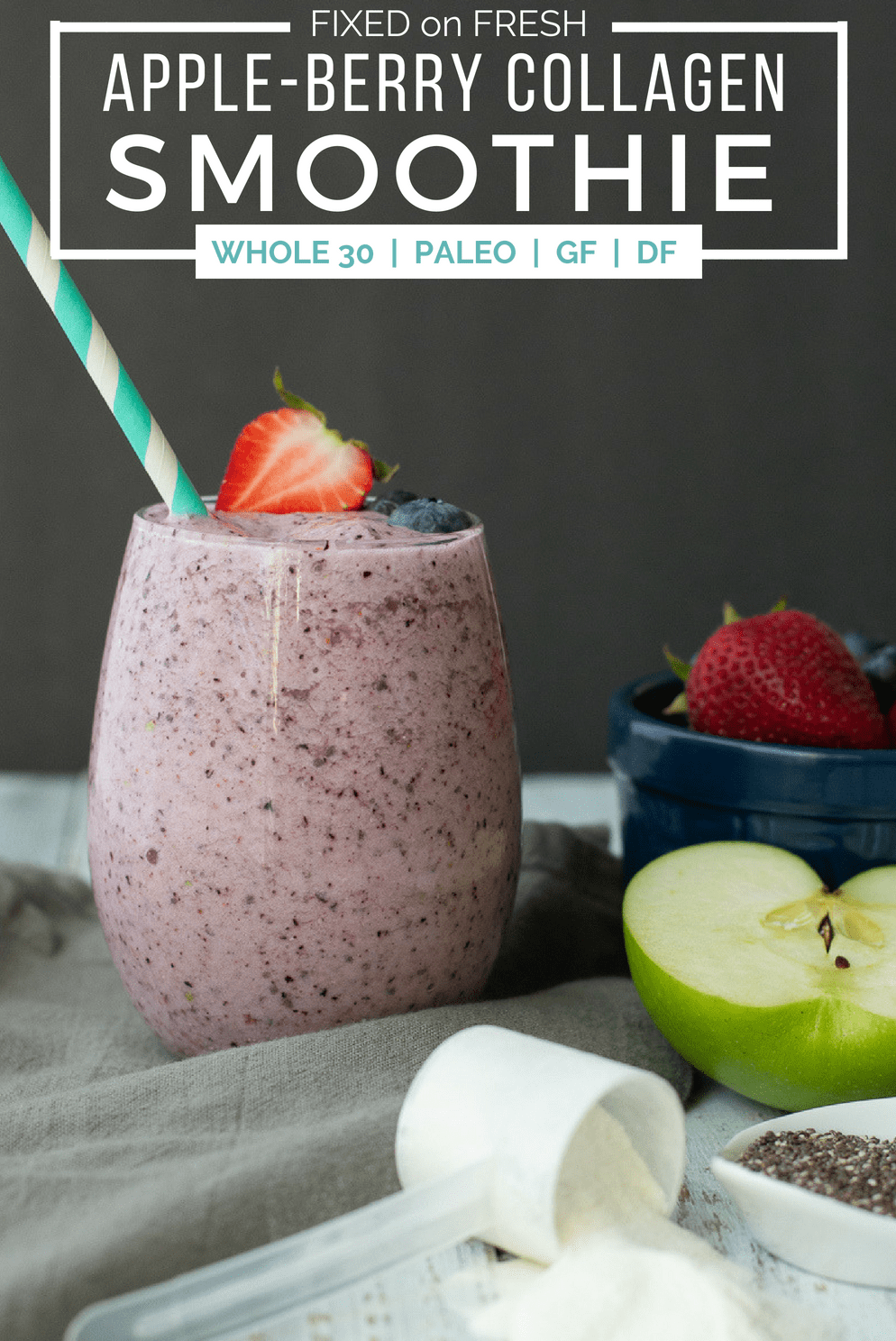 Apple-Berry collagen smoothie recipe makes for a healthy breakfast on the go. This high fiber breakfast will take 5 minutes to make and keep you full all morning!