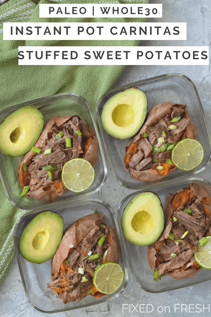 Instant Pot Carnitas Stuffed Sweet Potatoes makes an amazing Paleo and Whole30 make ahead lunch or dinner. This healthy instant pot recipe is filling and full of nutrients.