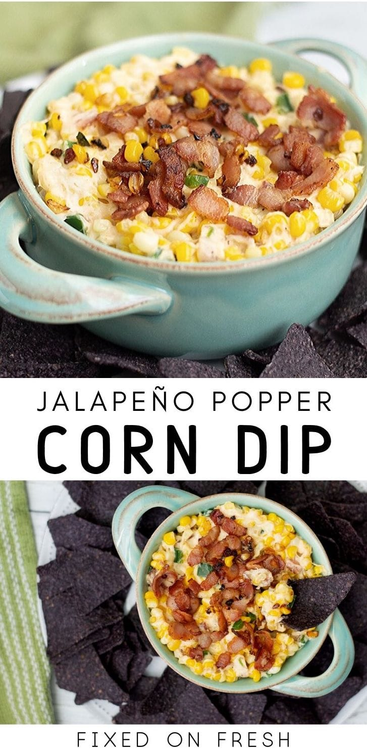 Smokey and spicy jalapeno popper corn dip is the perfect appetizer for any party. Whether it's a football party or backyard barbecue - the whole family will go nuts for this cheesy dip.