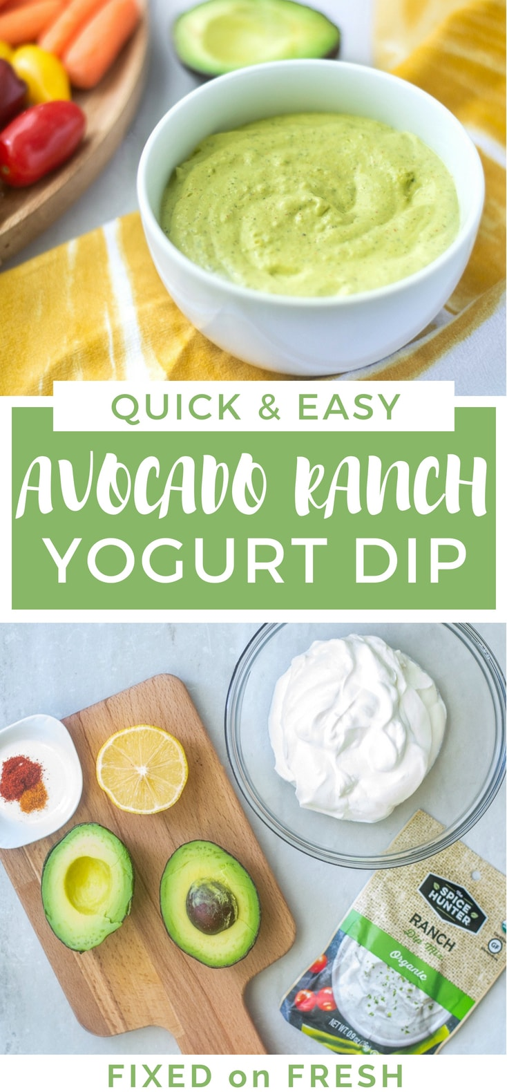 Spicy Avocado Ranch Yogurt Dip is quick and easy to make and a healthier version of your typical ranch dip. This low calorie appetizer is great to take to football parties or enjoy with your favorite veggies.