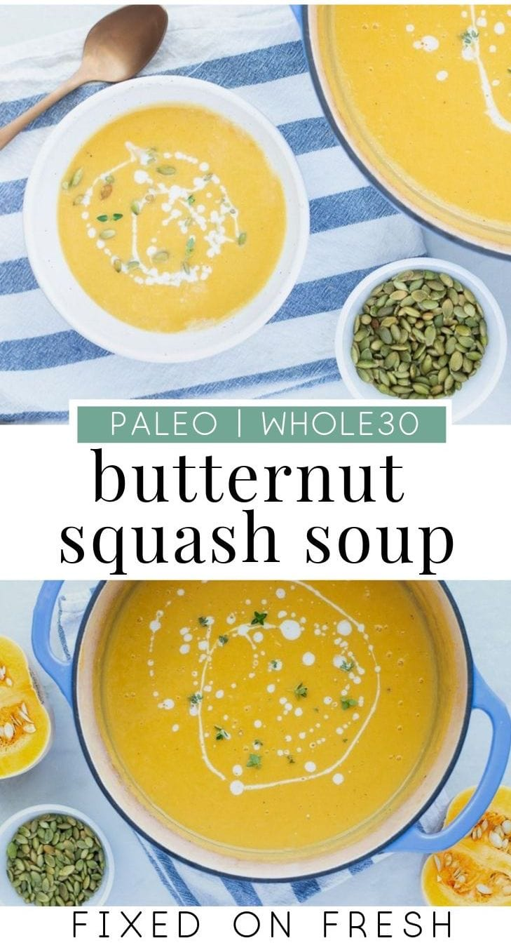 Easy creamy butternut squash soup is whole30 and paleo made with coconut milk. Roasted apples, sweet potato, squash and onions are all pureed into a delicious fall soup. #whole30 #paleo #soup