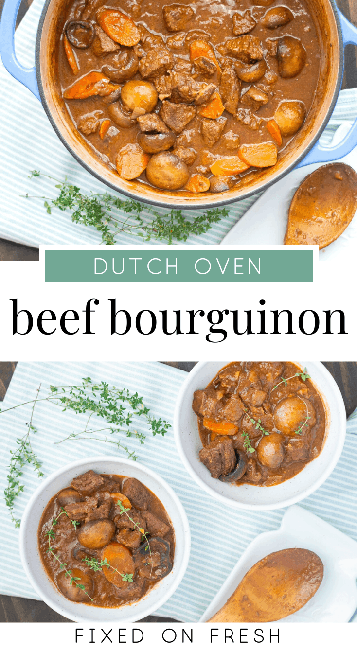 Learn how to make classic stovetop Beef Bourguignon in a dutch oven. This easy, one-pot beef stew recipe is perfect for dinner on a cold night. #glutenfree #beefstew