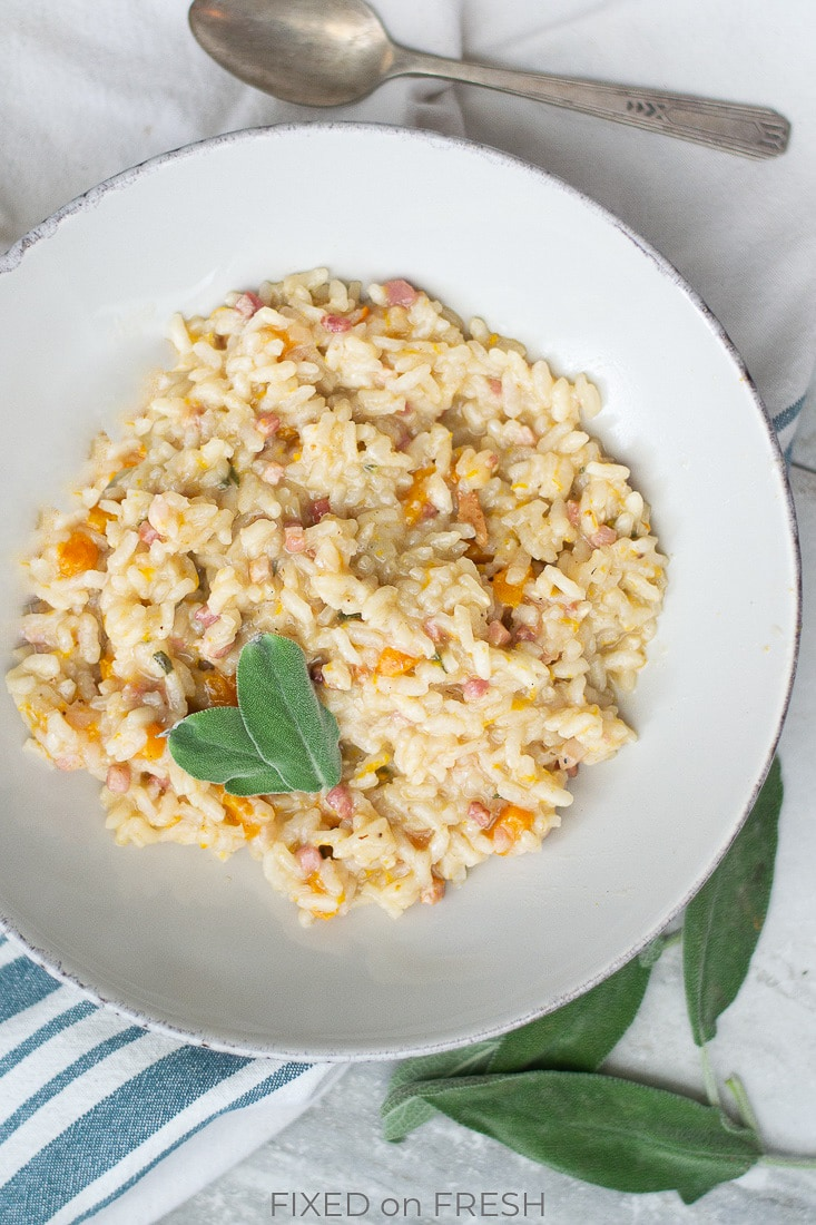 Autumn Risotto is filled with fall flavors like butternut squash and sage with a tasty twist of pancetta instead of parmesan, so it's completely dairy free! This is a huge hit with the kids, so it's a great fall family dinner. #risotto #butternutsquash #fallrecipe #pancetta #kidfriendly