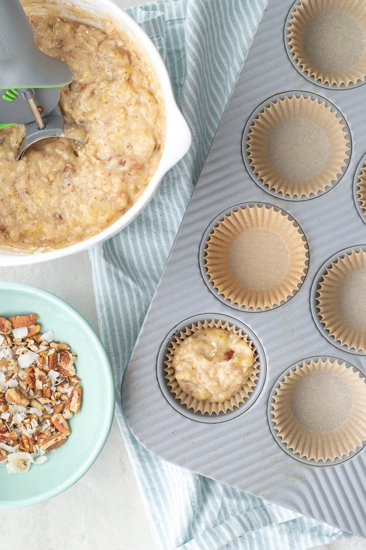 How to make Vegan, Gluten Free, Dairy Free Banana Nut Muffins with 2 easy substitutions.