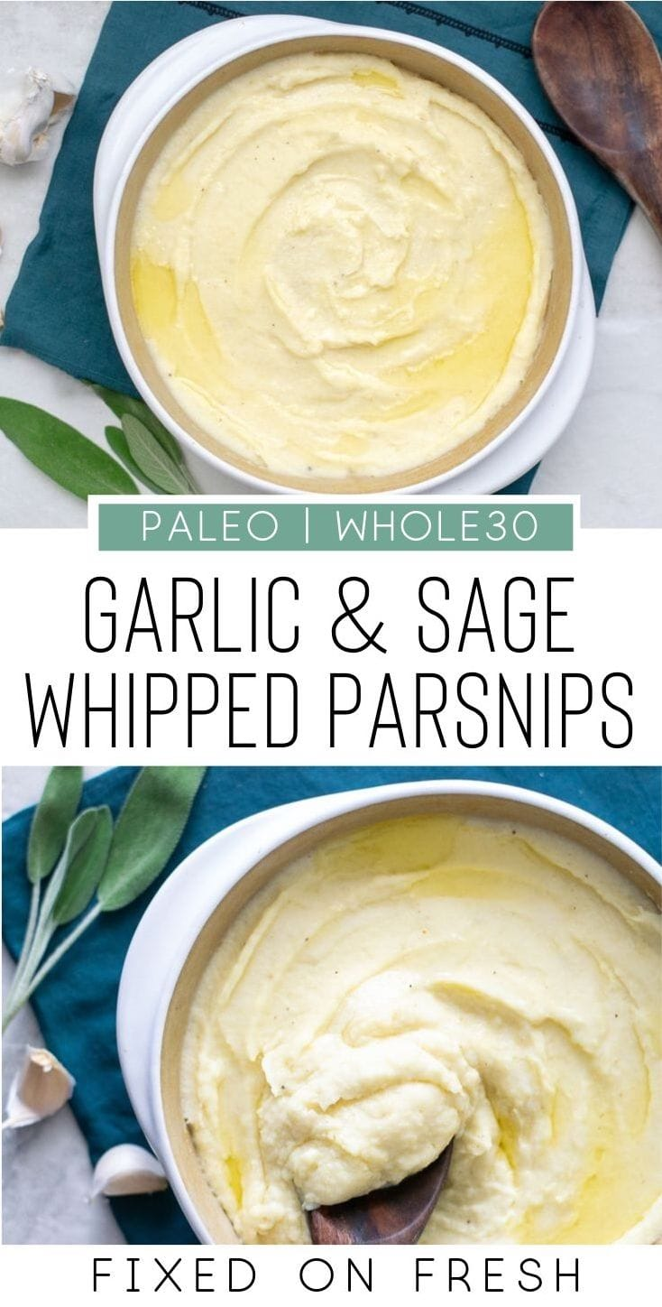 Garlic and sage whipped parsnips are a delicious alternative to mashed potatoes. This easy thanksgiving side dish recipe can be made paleo and whole30 friendly as well. #paleo #whole30
