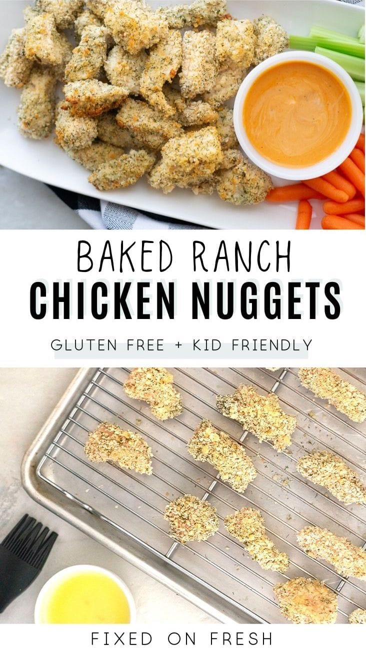 Simple and healthy snack or dinner recipe that kids will love! Gluten free ranch chicken nuggets are baked until crispy with a gluten free bread crumb and ranch seasoned coating.
