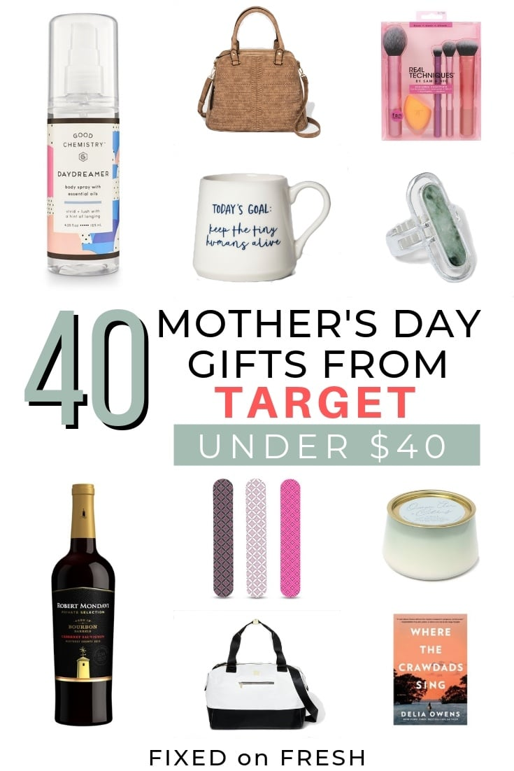 40 Mother's Day gift ideas on a under 40 dollars all easily available at Target. This Mother's day gift guide is perfect for assembling a gift basket or if you're on a budget. These options are great for mom, for friends or for grandma.