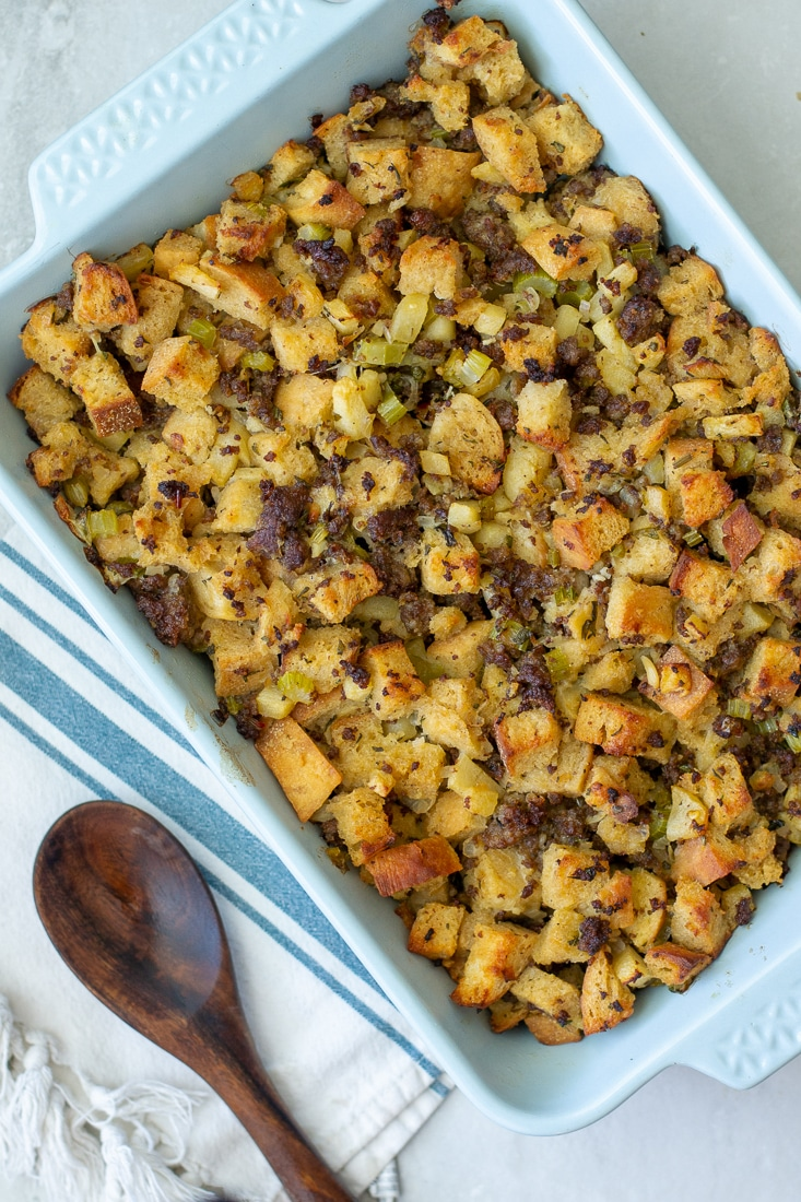 How to make Sourdough Apple Sausage Stuffing - a Healthy Thanksgiving side dish.