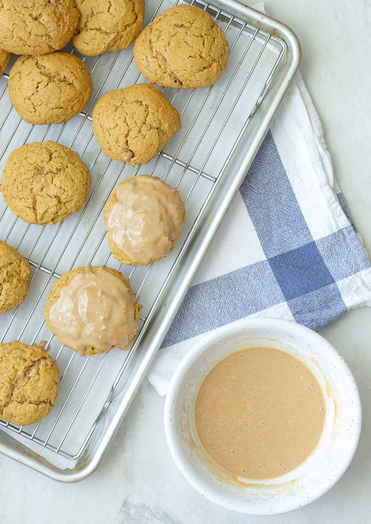 Pumpkin cookies - dunk in maple glaze and let cool.