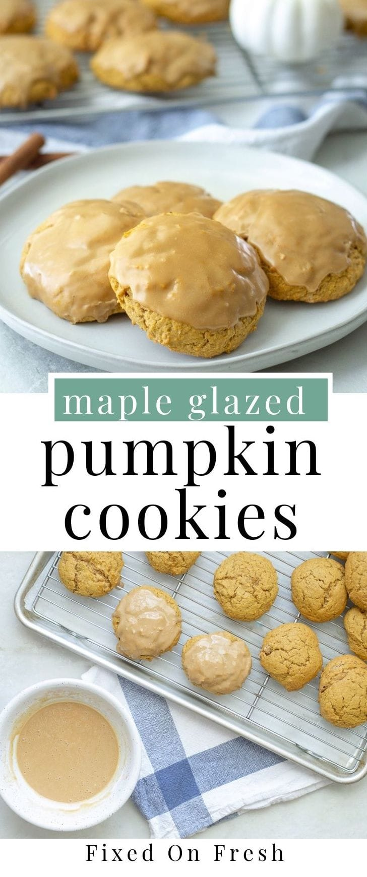 Maple glazed pumpkin cookies are so easy, soft, melt in your mouth, delicious you might have to make a double batch. These will be perfect for fall cookie parties or even as a Thanksgiving dessert. #fallrecipe #cookies #pumpkinspice