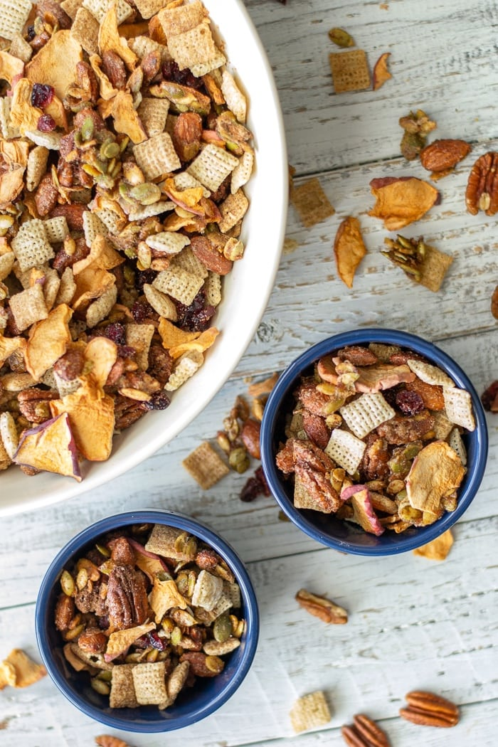 The best snack for road trips ever: Apple Cinnamon Trail Mix, or Snack Mix or Chex Mix..whatever you want to call it, its delicious! #snacks