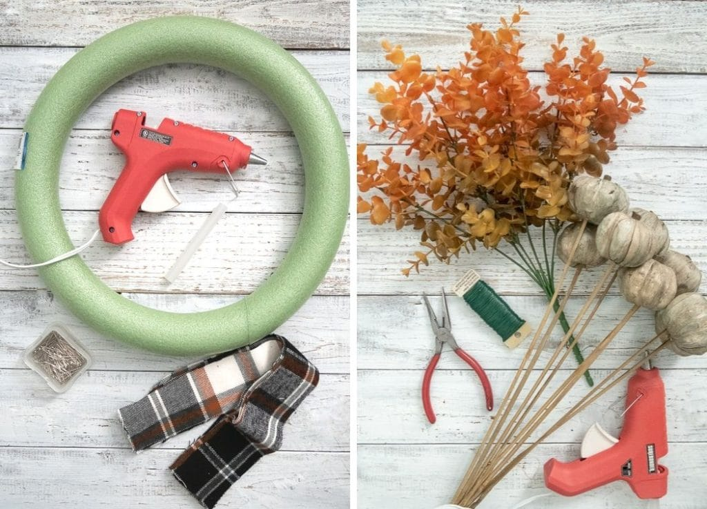 Images needed to make the farmhouse fall wreath.