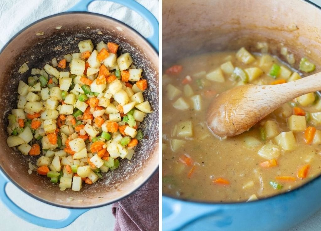 How to make a creamy pot pie filling.