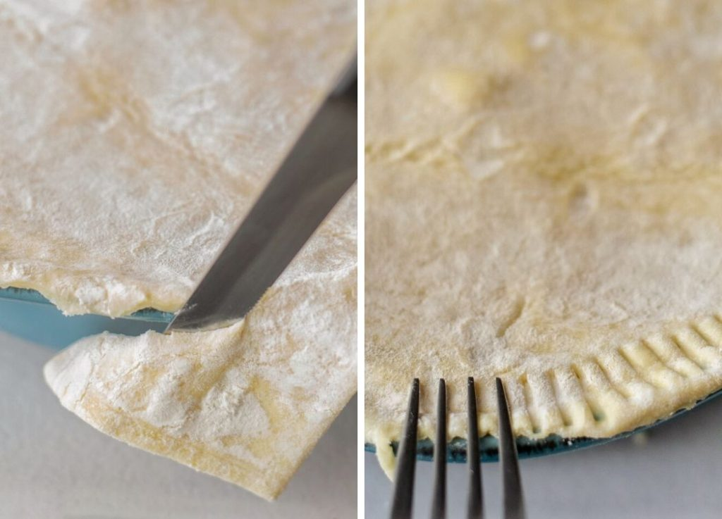 How to seal the crust on a pot pie by crimping with a fork.