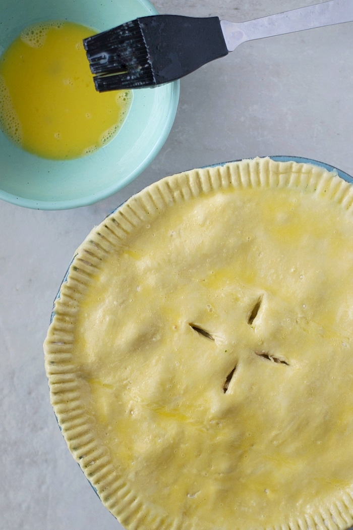 How to get a crispy pot pie crust using an egg wash on puff pastry.