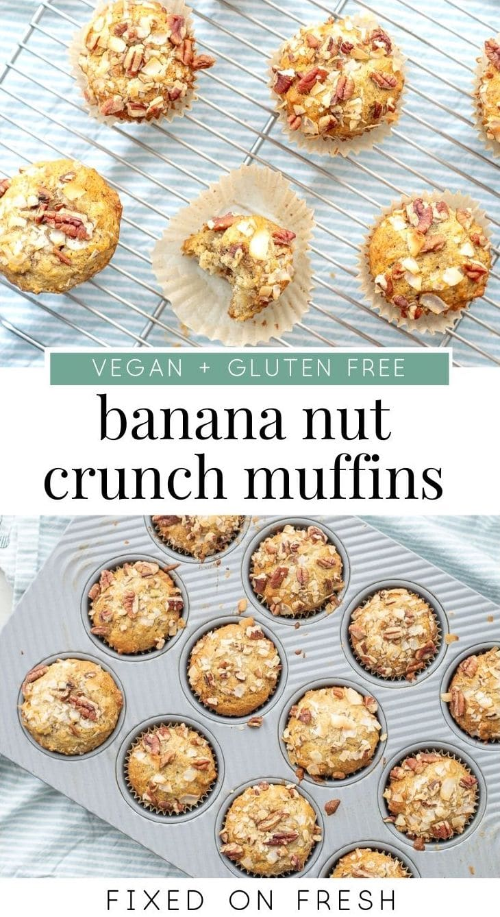 An easy vegan and gluten free banana nut muffin recipe topped with crunchy pecans and coconut. The perfect make ahead snack or breakfast. #muffin #veganrecipe