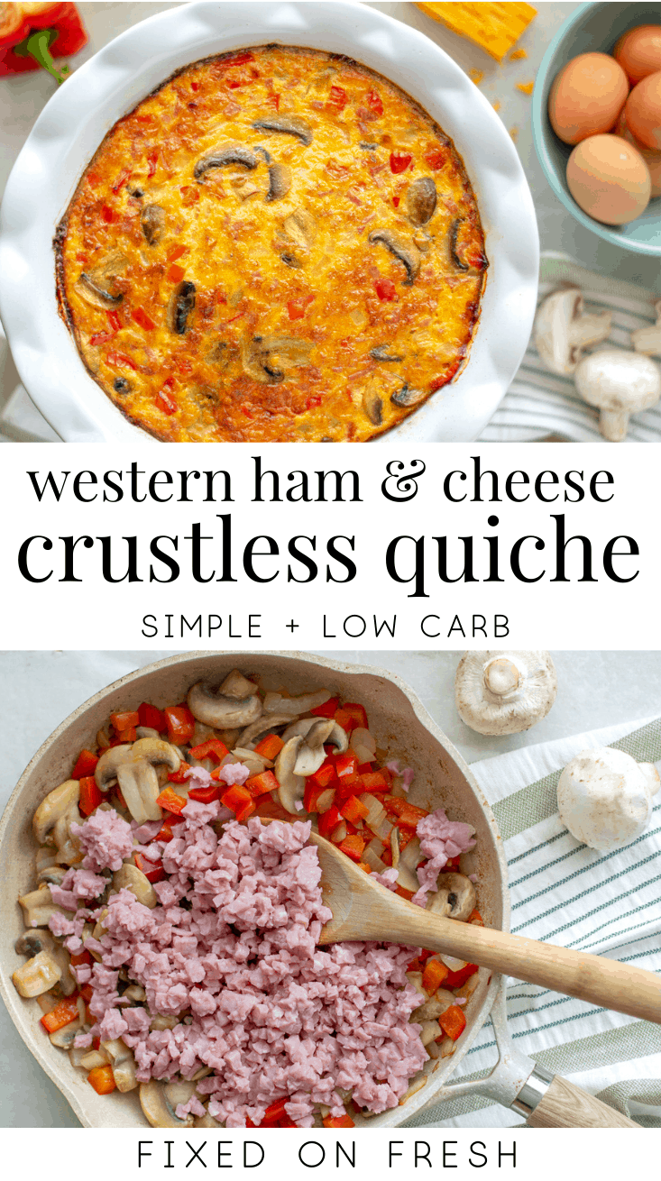 Western ham and cheese crustless quiche an is easy to make, low carb healthy breakfast with tons of protein and veggies. This makes a great make-ahead, meal prep keto breakfast. #keto #lowcarb
