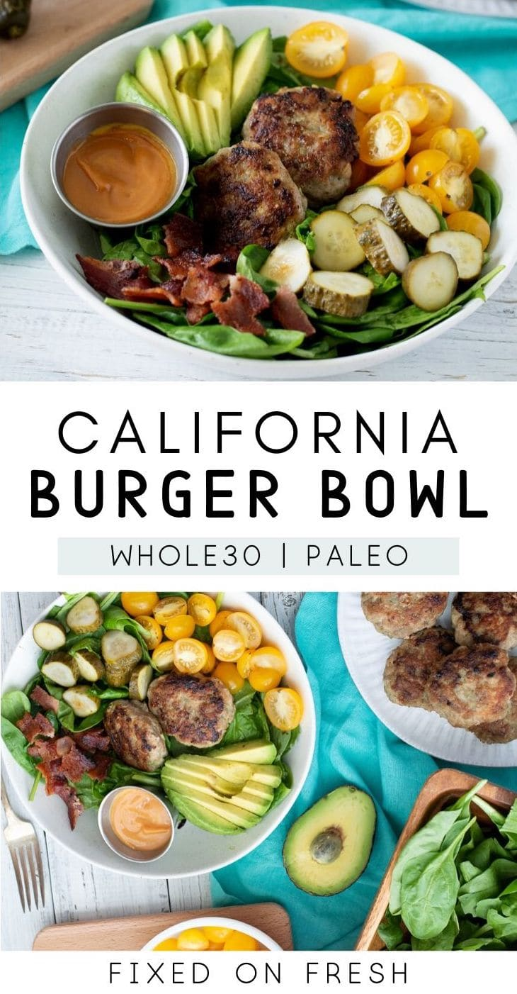 California burger bowl that is easy to meal prep, low carb, paleo and whole30. Homemade slider burgers made on the stove and served over lettuce with no bun. #whole30 #paleo #mealprep #burgers