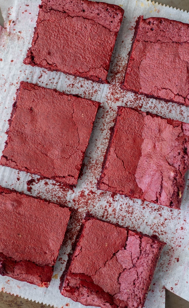 Red Velvet Brownies stuffed with cream cheese frosting