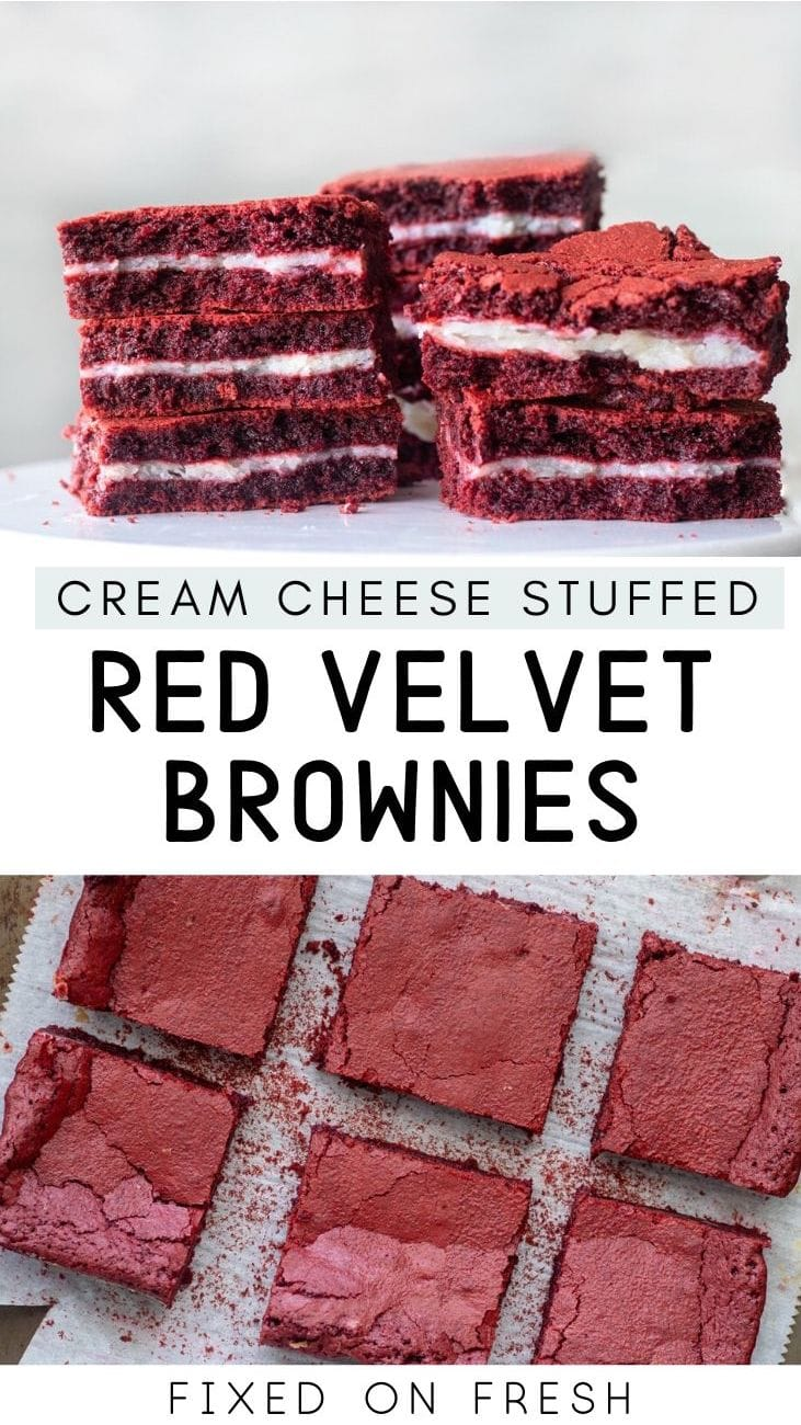 Fudgy Red Velvet Brownies stuffed with a surprise layer of Gooey Cream Cheese frosting. The perfect Valentines day dessert.