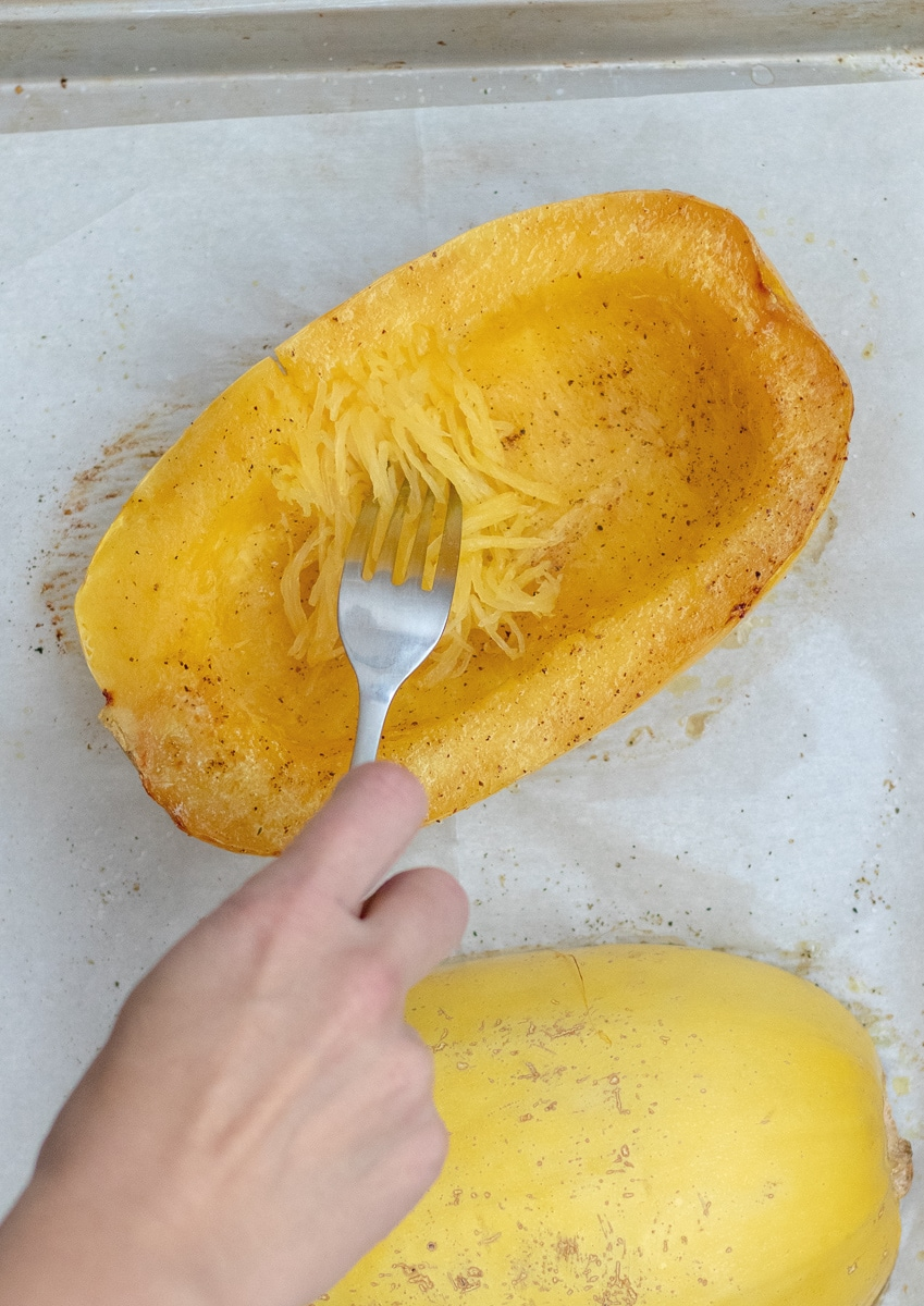 How to easily pull spaghetti squash into noodles