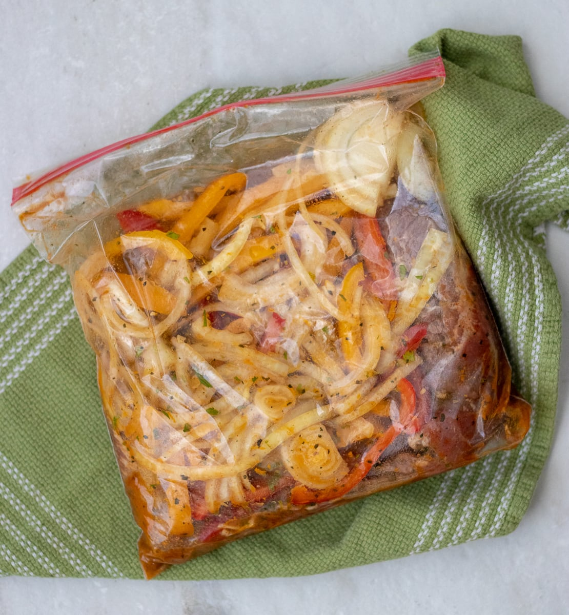 Citrus marinade for flank steak fajitas and veggies.
