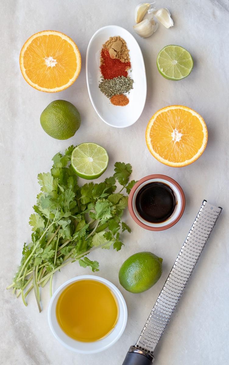 Ingredients for a smokey citrus steak fajita marinade.