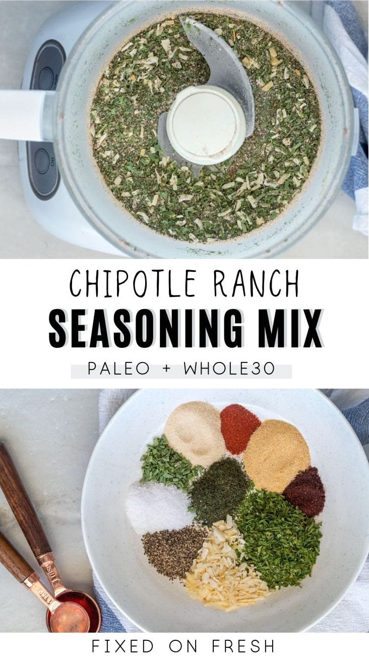Blend of herbs and spices that is dairy free for chipotle ranch seasoning. Perfect for dips, dressing, and seasoning chicken or burgers.
