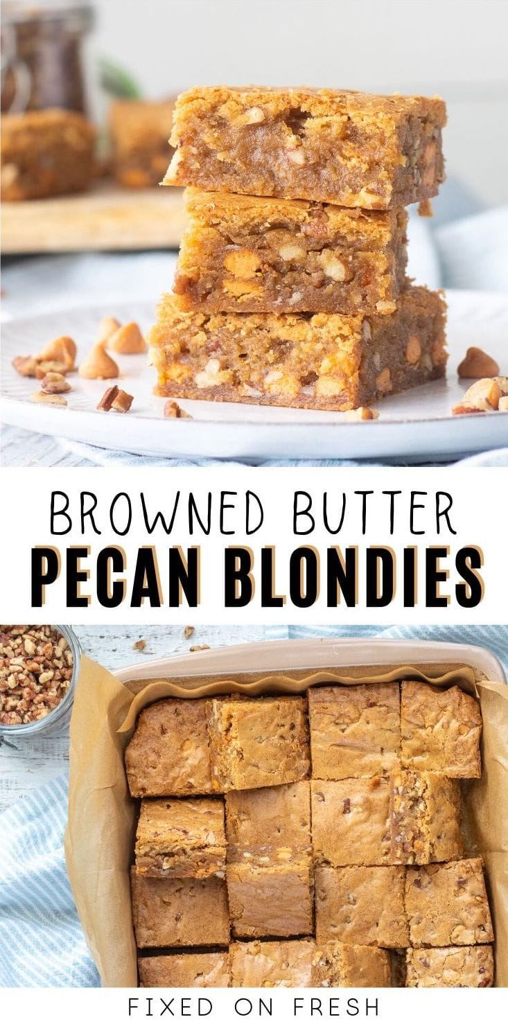 Rich and fudgy browned butter pecan blondies are made with nutty browned butter, butterscotch chips, and chopped pecans to make the ultimate blondie recipe!