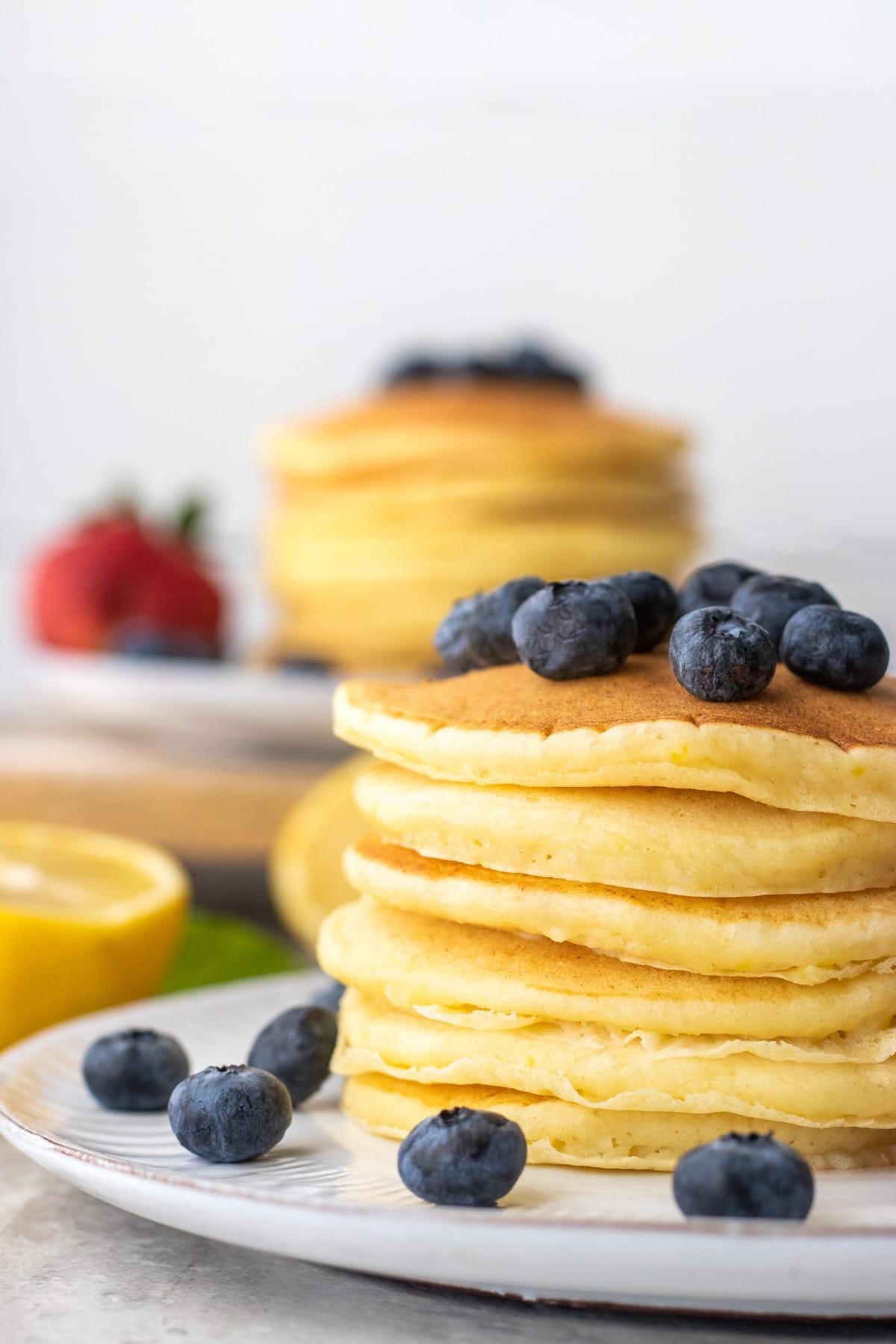 Stack of lemon ricotta pancakes