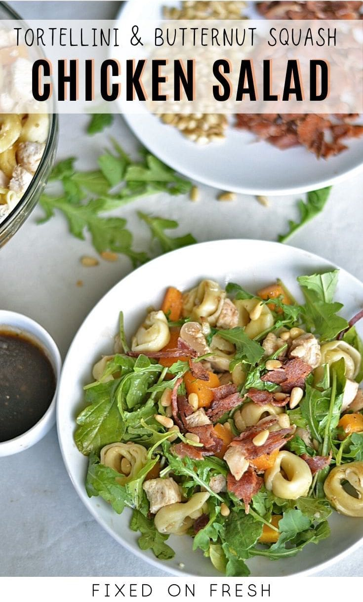 A healthier easy way to enjoy tortellini with arugula, chicken, prosciutto, and butternut squash in a delicious salad.