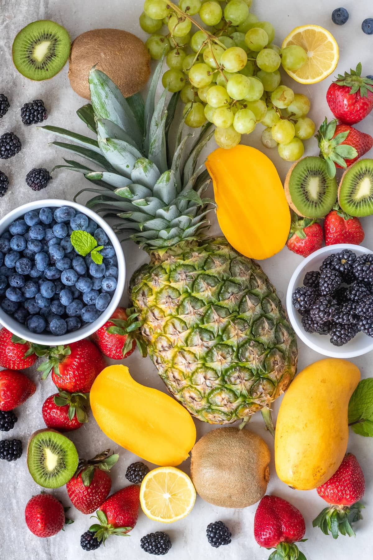 Ingredients for a healthy fresh fruit salad.
