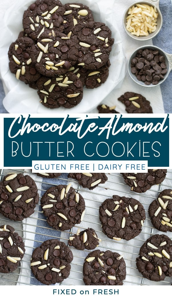 Gluten free and dairy free dark chocolate cookies with almond butter and chunks of almonds and chocolate chips. Chewy cookies with a twist!