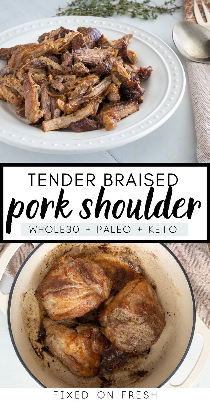 How to slow braise a pork shoulder in broth and/or wine with onions and herbs to make tender, fall-apart pork with a delicious sauce over top.