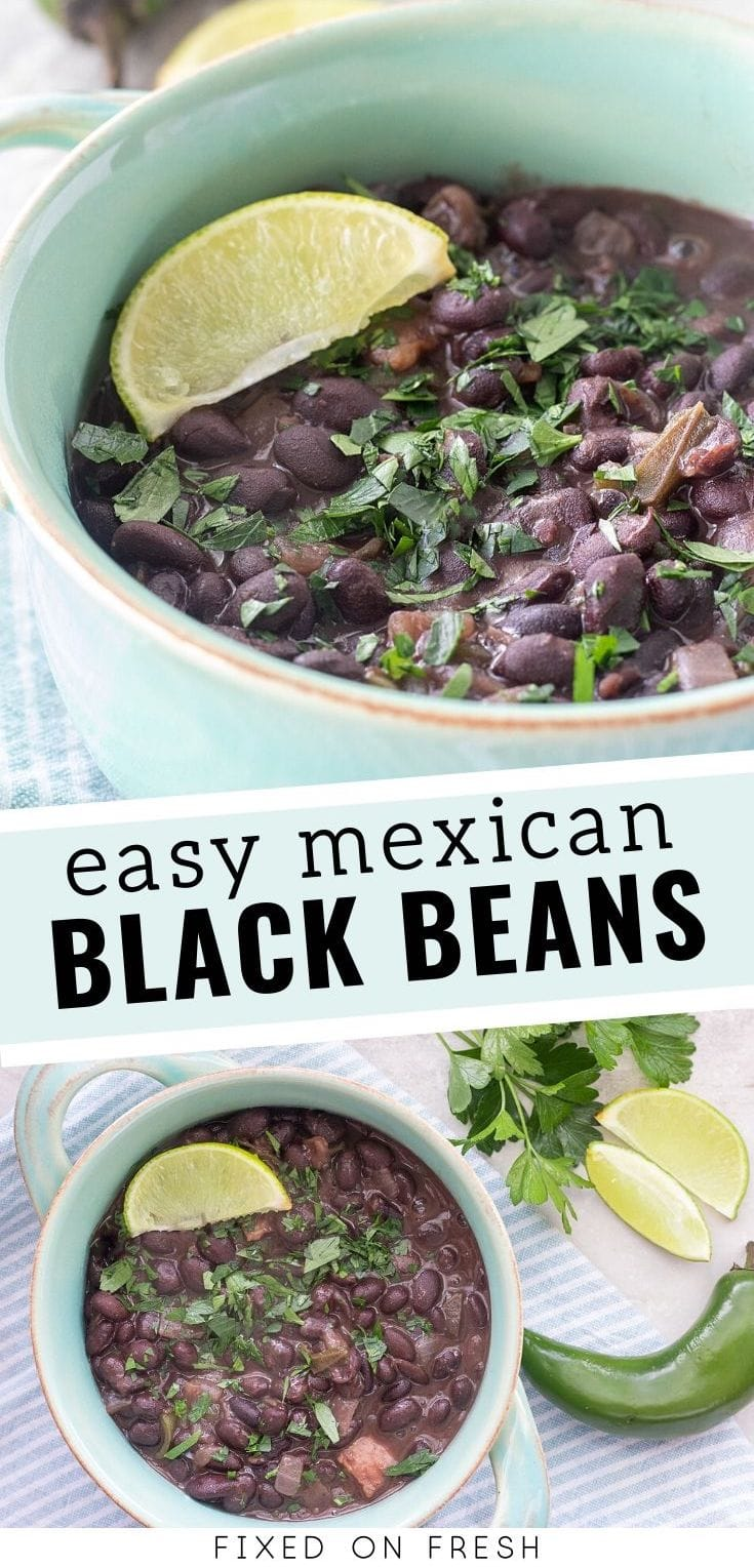How to make easy Mexican black bean using canned beans, bacon, onions and jalapenos. An easy 20-minute side dish for your next Taco Tuesday!