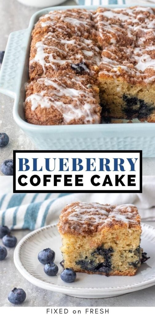 Fluffy sour cream coffee cake bursting with blueberries and topped with a cinnamon streusel and classic icing to make an indulgent brunch or dessert.