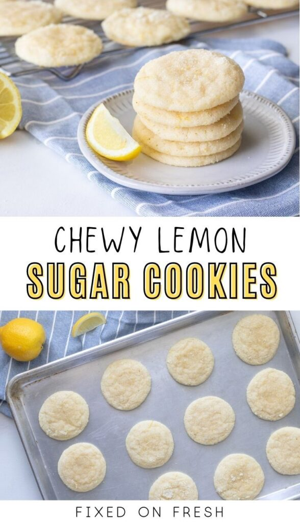 Chewy lemon sugar cookies are a bright and sugary treat the whole family will love to indulge in. Chewy sugar cookies are given a tart lemony zing with loads of fresh lemon zest, lemon juice, and lemon extract.