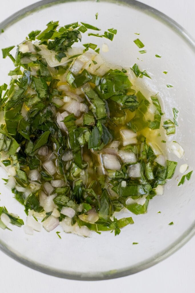 Lemon, shallot, herb vinaigrette for the salad
