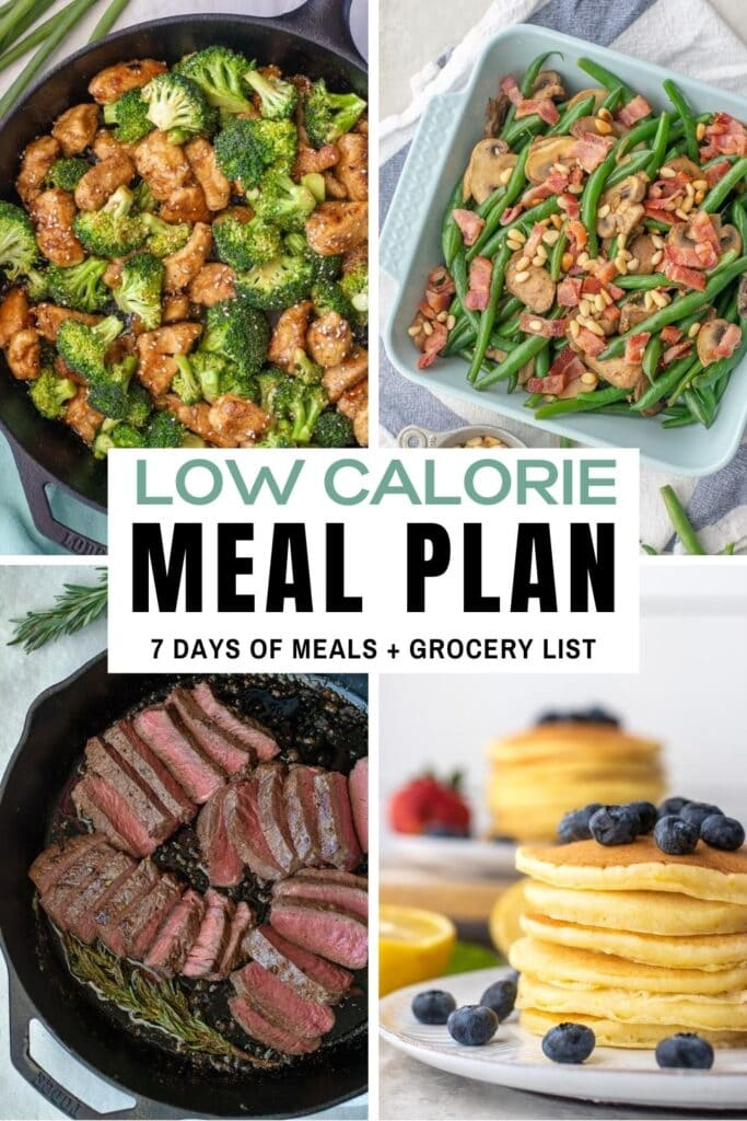 7-day low calorie meal plan with breakfasts, lunches, dinners and snack ideas including a printable grocery list.