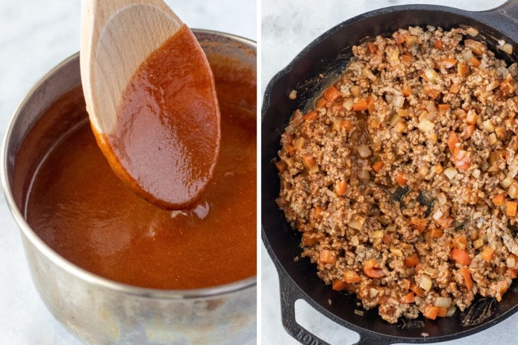 Make the sauce and add it to the filing mixture