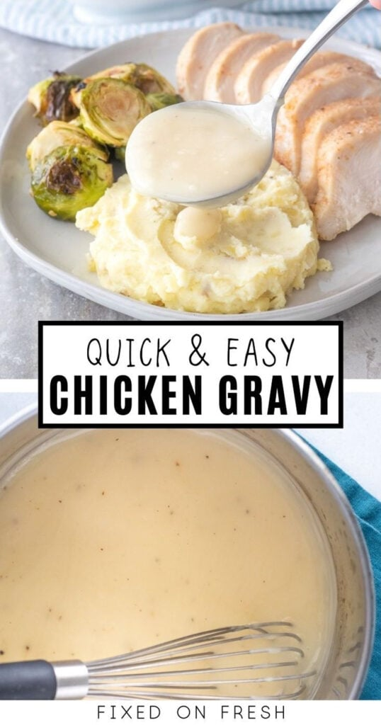 Quick and easy homemade chicken gravy is cheaper and tastier than going store-bought! Just a few staple ingredients from your pantry and you have a tasty chicken or turkey gravy.