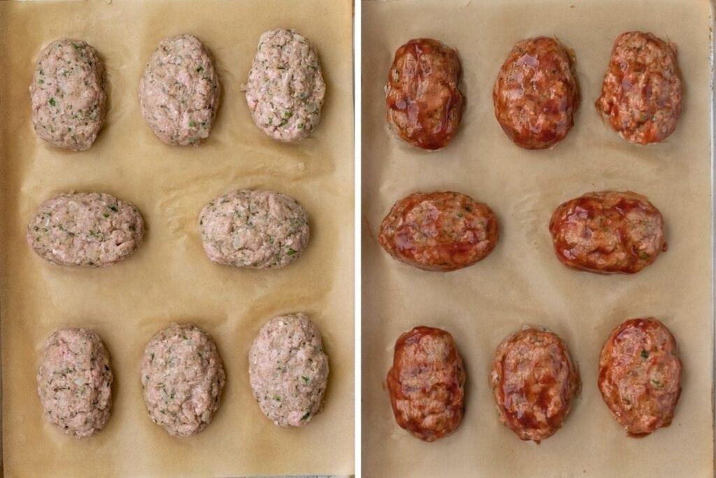 How to shape and glaze mini meatloaves